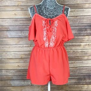 NEW ANTHROPOLOGIE Embroidered Shorts Romper Large
